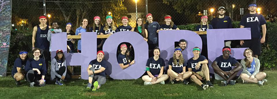 Collegiate ESA members at Bradley University pose during their field games for a cause.